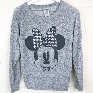 Disney Parks Minnie Mouse Houndstooth Grey Sweater